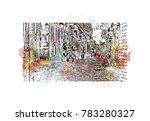 watercolor splash with sketch... | Shutterstock .eps vector #783280327
