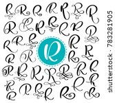 set letter r. hand drawn ... | Shutterstock . vector #783281905