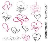set of flourish calligraphy... | Shutterstock . vector #783290227