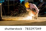 worker uses grinding cut metal  ... | Shutterstock . vector #783297349