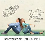 Small photo of concept. young happy family couple dreaming of new house, car, child, financial well-being