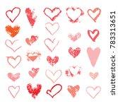 set of hearts chalk  sponge...
