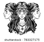 blind magic goddess hecate.... | Shutterstock .eps vector #783327175