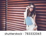 young attractive woman with... | Shutterstock . vector #783332065