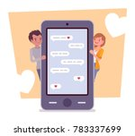 love in messenger. young happy... | Shutterstock .eps vector #783337699