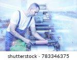 printer operator next to the...   Shutterstock . vector #783346375