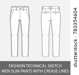 fashion technical sketch men... | Shutterstock .eps vector #783354604