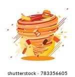 crazy  yummy junk food swirl ... | Shutterstock .eps vector #783356605