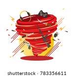 crazy hard core gamer swirl ... | Shutterstock .eps vector #783356611