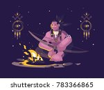 character indian american with... | Shutterstock .eps vector #783366865