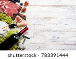 red wine  grape  figs  cheese... | Shutterstock . vector #783391444