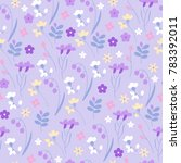 cute meadow grass and flowers... | Shutterstock .eps vector #783392011
