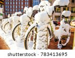 bicycle parking after a snow... | Shutterstock . vector #783413695