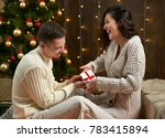 happy couple give gifts in...   Shutterstock . vector #783415894