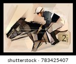 Horse With Jockey On Grunge...