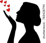 female silhouette blowing love... | Shutterstock .eps vector #783428794