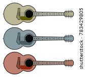 guitar of different shades....   Shutterstock .eps vector #783429805