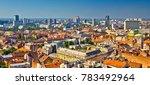 Zagreb Aerial Skyline Rooftops...