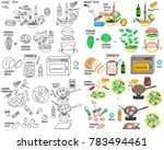 recipe caesar salad vector diy... | Shutterstock .eps vector #783494461