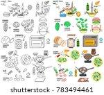 recipe caesar salad vector diy... | Shutterstock .eps vector #783494461