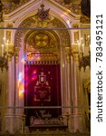 Small photo of Budapest, Hungary - October 15, 2017: Main alter with stained glass light reflection in Dohány Street Synagogue, largest synagogue in Europe and the second largest in the world.