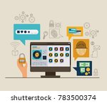 mobile security with desktop... | Shutterstock .eps vector #783500374
