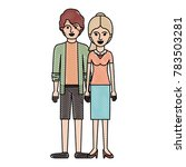couple in colored crayon... | Shutterstock .eps vector #783503281