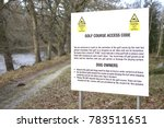 Small photo of golf course access code rules for public walkers and dog owners sign caution and warning danger of stray balls