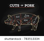 pig butcher chalkboard scheme.... | Shutterstock .eps vector #783513334
