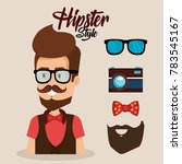 hipster style avatar with... | Shutterstock .eps vector #783545167