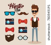 hipster style avatar with... | Shutterstock .eps vector #783545191