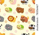 cartoon animal seamless pattern | Shutterstock .eps vector #78356467