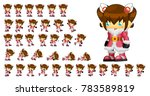 animated cute girl character... | Shutterstock .eps vector #783589819