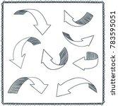 sketchy arrow set. hand drawn... | Shutterstock .eps vector #783595051