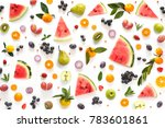 various vegetables and fruits...   Shutterstock . vector #783601861