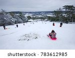 families sledging in fresh snow ...