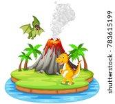 dinosaur and volcano eruption... | Shutterstock . vector #783615199