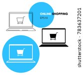 online shopping laptop and cart ...