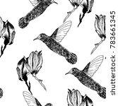 sketch vector flower and bird... | Shutterstock .eps vector #783661345