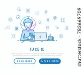 face id concept with thin line... | Shutterstock .eps vector #783669709