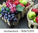 bunch of apples and grapes... | Shutterstock . vector #783672595