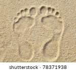 Two Footprints In Sand At The...