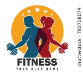 fitness club emblem with... | Shutterstock . vector #783728074