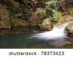 Flowing stream water in China mountain areas - stock photo