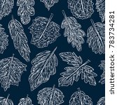 pattern of the leaves doodles | Shutterstock .eps vector #783734281