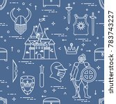 seamless pattern with knight ... | Shutterstock .eps vector #783743227