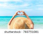 woman making heart shape on the ...   Shutterstock . vector #783751081