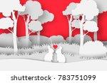 3d abstract paper cut... | Shutterstock .eps vector #783751099