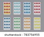 set of blister capsules colored | Shutterstock .eps vector #783756955