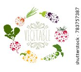 vegetable logo with  aubergine  ... | Shutterstock .eps vector #783757387